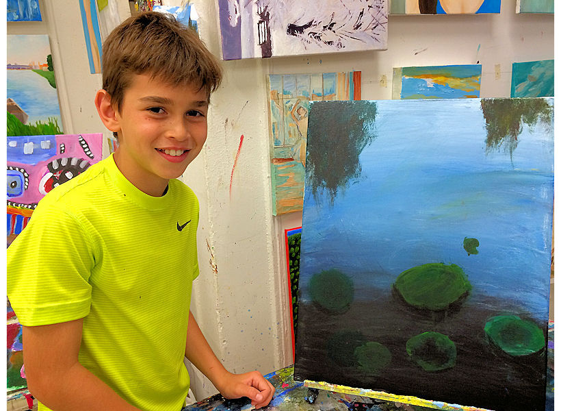 kids art 7 to 11-year-old art class Monet inspired painting on canvas at the art studio ny