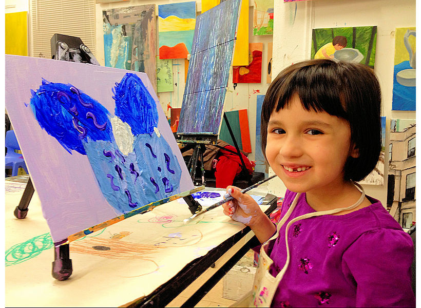joyful acrylic painting on canvas painted by 6-year-old child in after school painting class at the art studio ny uws nyc