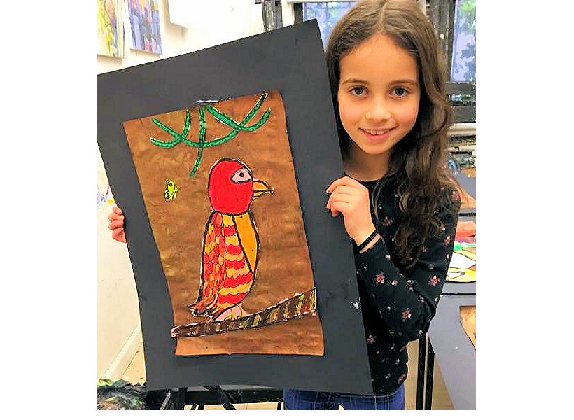 impressive artwork by a happy child artist from kids summer art camp nyc uws 2nd grade drawing and painting of a bird