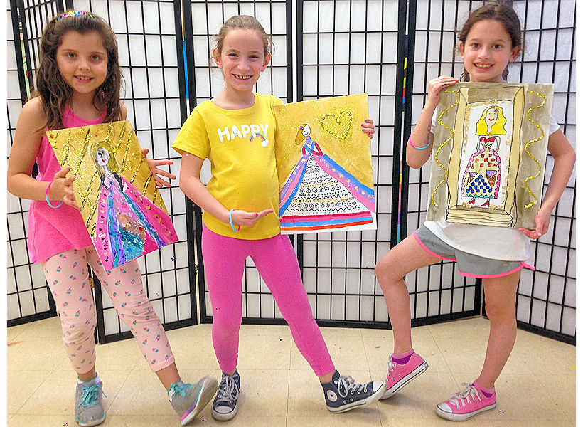 happy girls sharing fashion design class for kids dress designing artwork on canvas inspired by Gustav Klimt at the art studio ny uws nyc children's art classes