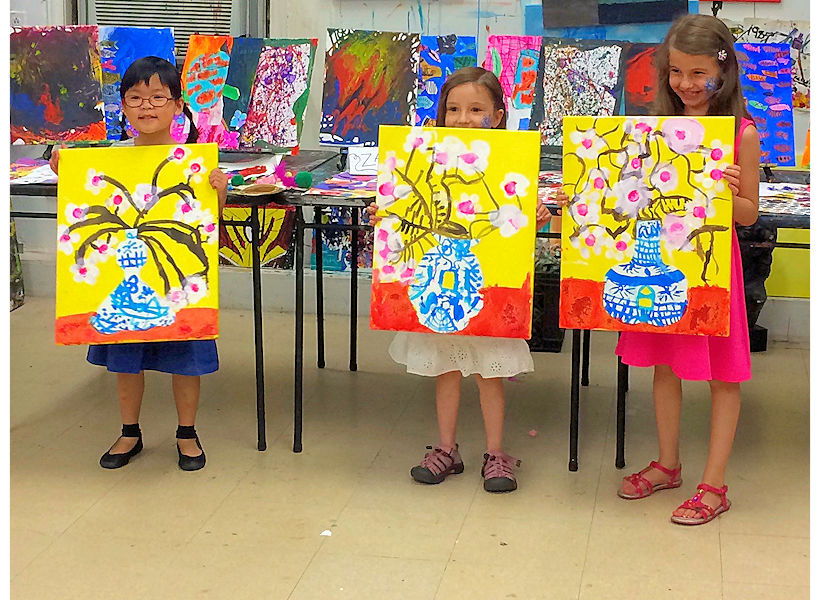 4 to 6-year-old budding artists proudly share their mixed media paintings on canvas inspired by Chinese Ming vases in their weekly children's art class at the art studio ny in nyc uws