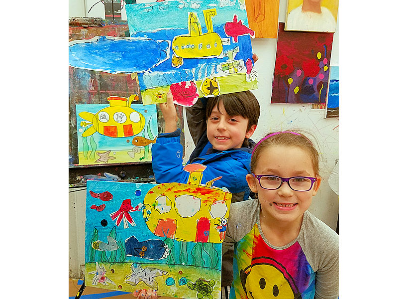 second third grade happy kids with their artwork on canvas from kids summer art camp in nyc art studio uws the art studio ny